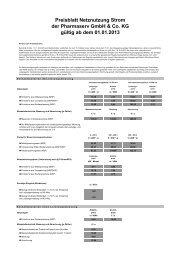 Preisblatt Netznutzung Strom der Pharmaserv GmbH & Co. KG ...