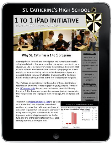 1 to 1 iPad Initiative - St. Catherine's High School