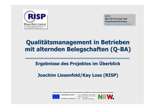 Qualitätsmanagement in Betrieben mit alternden Belegschaften (Q ...