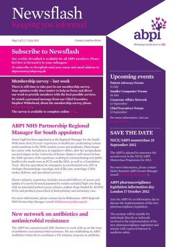 ABPI NewsFlash 9JUL2012 - Association of the British ...
