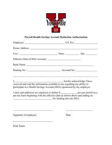 HSA Payroll Deduction Form