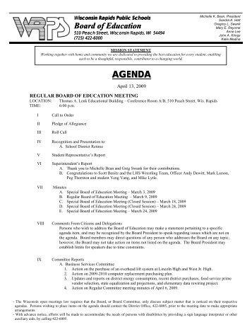 Board Agenda for 4-13-09 - Wisconsin Rapids Public Schools