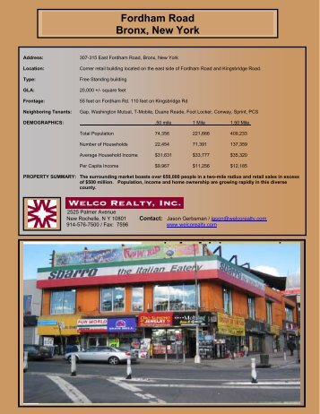 Fordham Road Bronx, New York - Welco Realty, Inc