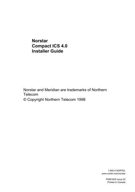 Nortel Norstar Compact ICS 4 0 Installer Guide - Digitcom