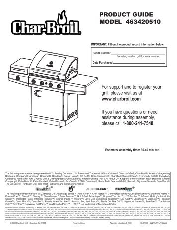 PRODUCT GUIDE MODEL 463420510 - Char-Broil Grills