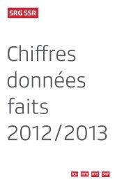 Chiffres données faits 2012/2013 - SRG SSR