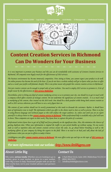 Content Creation Services in Richmond Can Do Wonders for Your Business