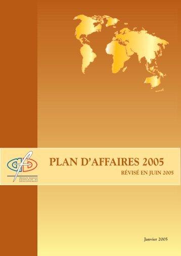 PLAN D'AFFAIRES 2005 - Agence Française de Développement
