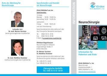 Info-Flyer Neurochirurgie - Kliniken Kreis Mühldorf am Inn