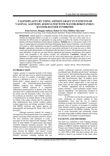 vaginoplasty by using amnion graft in patients of vaginal agenesis ...