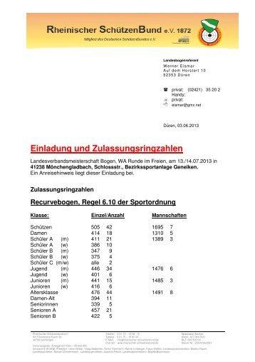 Einladung und Zulassungsringzahlen Bogen FITA 2013 - RSG Düren