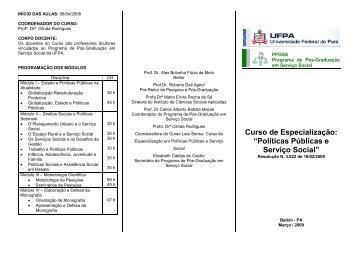 """Curso de Especialização: """"Políticas Públicas e Serviço Social"""""""