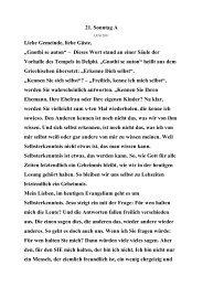 """21. Sonntag A Liebe Gemeinde, liebe Gäste, """"Gnothi se auton ..."""