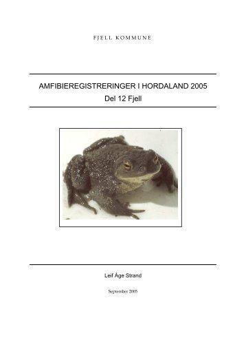 Amfibieregistrering i Hordaland 2005 - del 12 Fjell - Fjell kommune