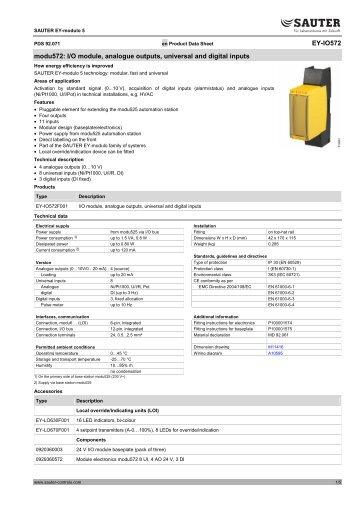 I/O module, analogue outputs, universal and digital inputs