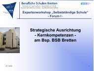 Forum III Strategische Ausrichtung - Schule Wirtschaft BW
