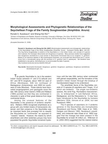 Morphological Assessments and Phylogenetic Relationships of the ...