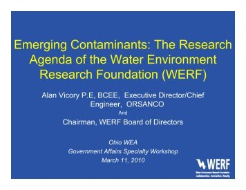 Emerging Contaminants: The Research Agenda of the Water ...