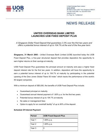 united overseas bank limited launches uob fixed deposit plus