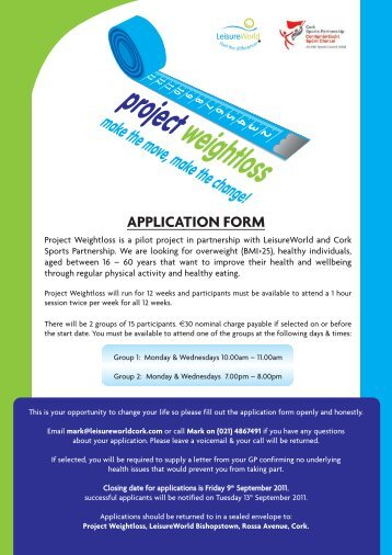 Project Weightloss Application Form - Cork City Council