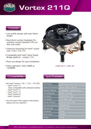 Vortex 211Q Product Sheet-1 - Cooler Master