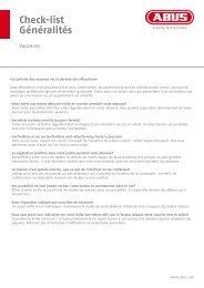 Check-list Généralités - Abus