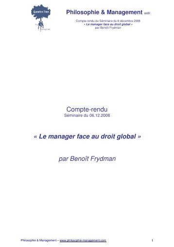Le manager face au droit global - Philosophie Management
