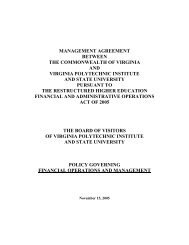 management agreement between the commonwealth of virginia and