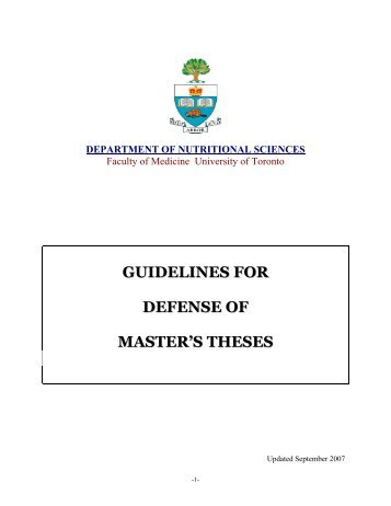 masters thesis university of toronto School of graduate studies - theses and masters graduands to submit a thesis written as a established by university of toronto libraries to.