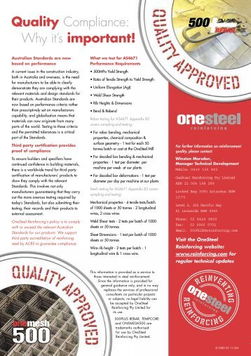 Why it's important! Quality Compliance: - OneSteel
