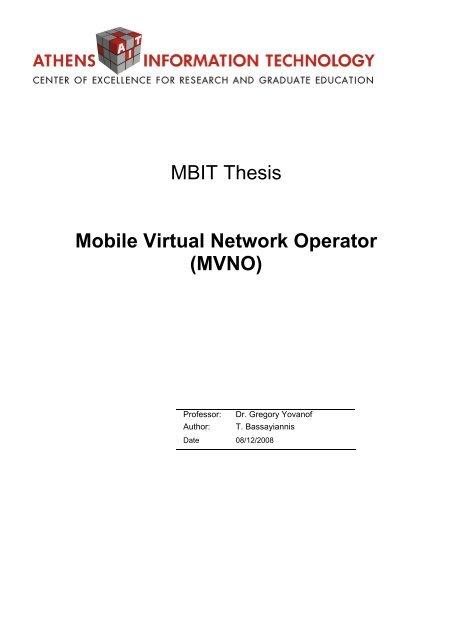 Mbit Thesis Mobile Virtual Network Operator Mvno Prepaid Mvno