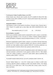 Výroční zpráva Nadace Františka Faltuse za rok 2011