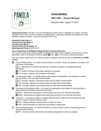 BIOL 1408 - Biology for Non-science Majors I - Panola College