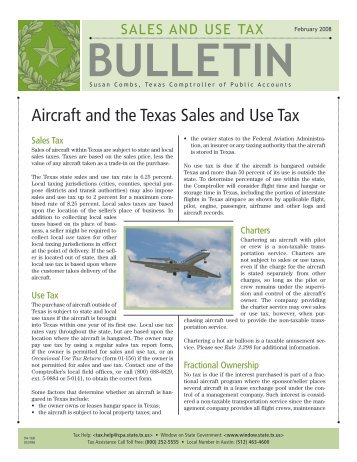 94-168 Aircraft and Texas Sales and Use Tax - Texas Comptroller of ...