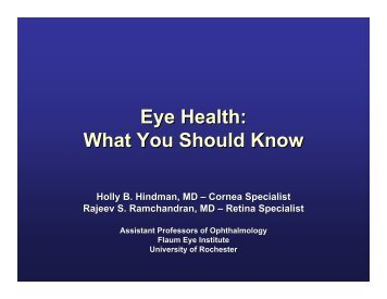 Eye Health - University of Rochester Medical Center