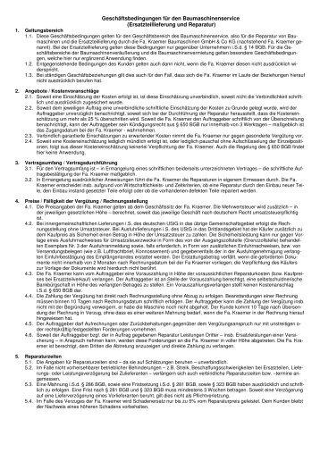 Ersatzteillieferung und Reparatur - Kraemer Baumaschinen