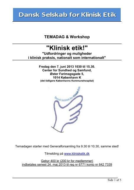 Temadag - program - Dansk Selskab for Klinisk Etik