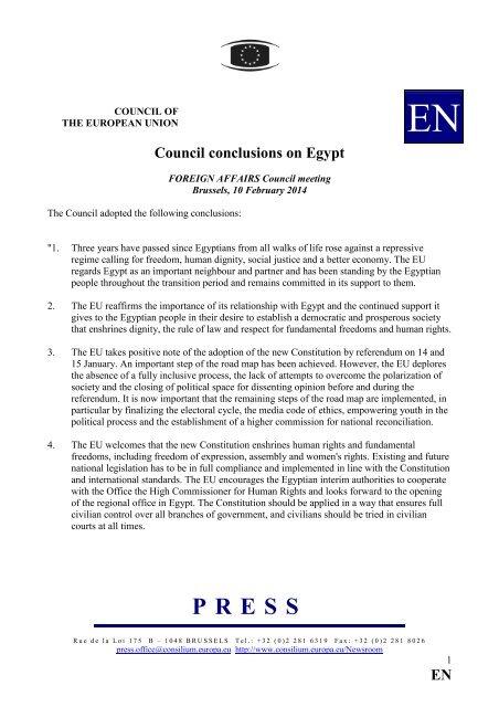 EN Council conclusions on Egypt - Europa