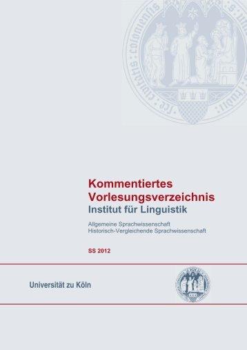 Sommersemester 2012 - Institut für Linguistik - Universität zu Köln