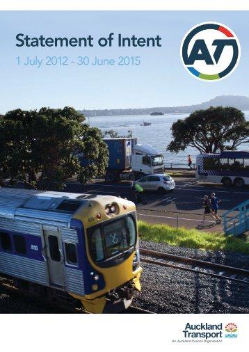 Auckland Transport Statement of Intent 2012 - 2015