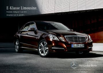 E - Klasse Limousine. - Preislisten