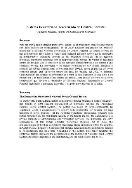 Sistema Ecuatoriano Tercerizado de Control Forestal - Catie
