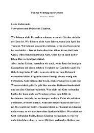 Fünfter Sonntag nach Ostern Liebe Zuhörende, Schwestern und ...