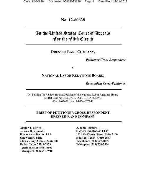 Brief of Petitioner -- Dresser-Rand Co  v  NLRB (Fifth Circuit)