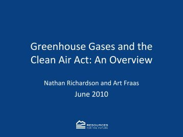 Greenhouse Gases and the Clean Air Act