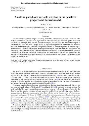 A Note on Path-based Variable Selection in The Penalized ...