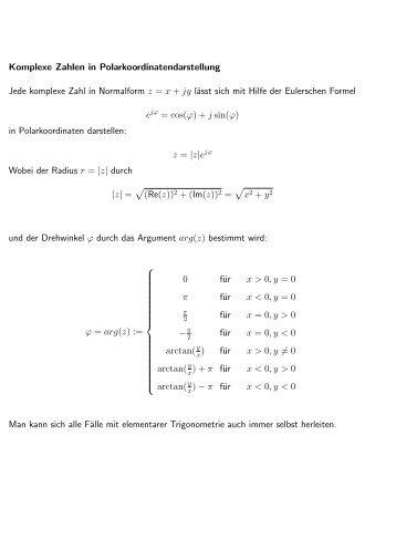 Komplexe Zahlen in Polarkoordinatendarstellung Jede komplexe ...