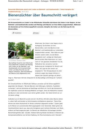 Bienenzüchter über Baumschnitt verärgert - Imkerverein Bremen ...