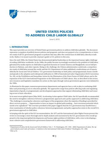 united states policies to address child labor globally - International ...
