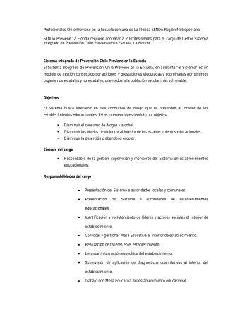 Profesionales Chile Previene en la Escuela comuna de La Florida ...